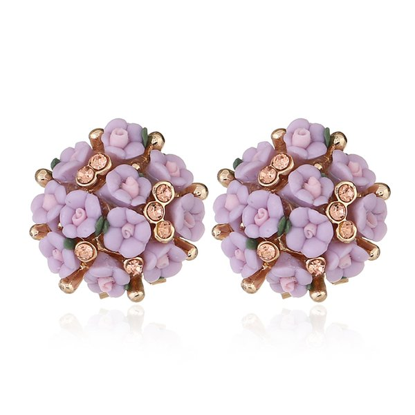 Gift For Femal Cute Flower Ear Stud Crystal Earrings Fashional Ear Pendent Rose Flower Ear Stud Several Colors For Wedding Party Decoration