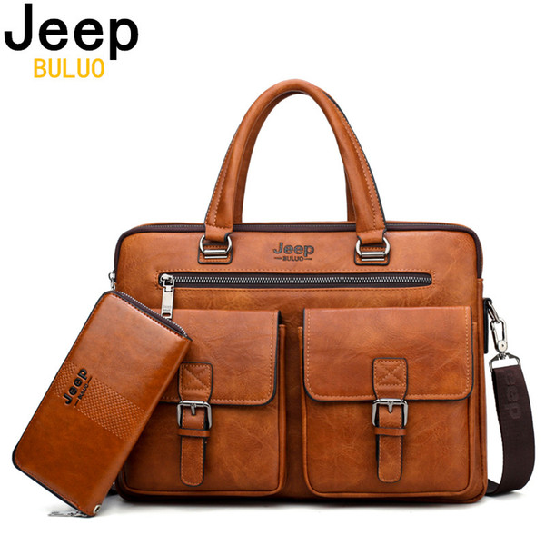 BULUO Men Business Bag For 13'3 inch Laptop Briefcase Bags 2 in 1 Set Handbags High Quality Leather Office Bags Totes Male