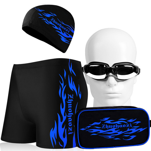 Men Swimwear 5 Pieces Sets Swimming Trunks Mens New Sexy Swim Shorts Bathing Trunks Swimsuit With Cap Plating Goggles Bags