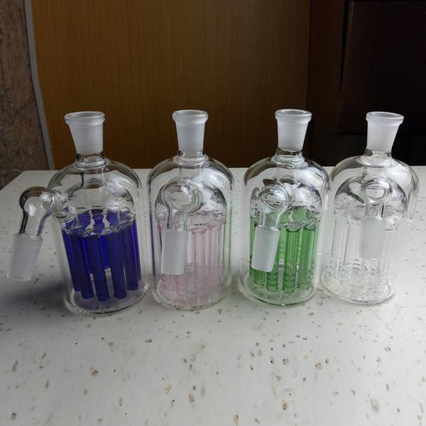 Улавливатель пепла 11 Armed Wide Tree Perc Glass Улавливатель золы 14 мм и 18-миллиметровое совместное стекло Улавливатель пепла Прозрачный зеленый и синий 3 цветных бонга Аксессуары