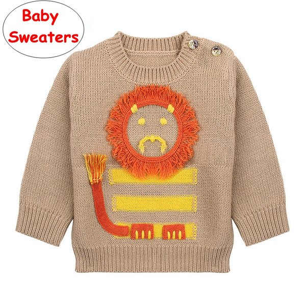 Infant Cartoon lion Sweaters INS Baby Boys Girls knitted Pullover tops Kids Gray Brown Autumn Winter shirt