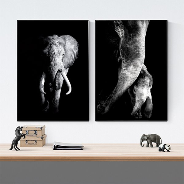 Großhandel Schwarz Weiß Poster Und Drucke Indischer Elefant Mandala