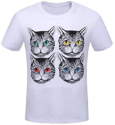 Pop Shop Summer O-neck Cat Head Printed Men T-shirt Short Sleeve man cotton t-shirts Fashion 2018 Tops Men's brand Clothing White