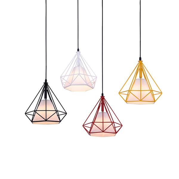 Modern brief diamond pendant lights colorful macaron hanging light metal Lampstand droplight for kids room bedroom restaurant pendant lamps