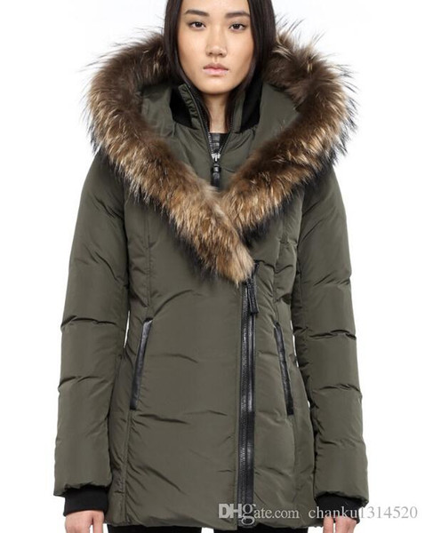 Women's Down jacket WINTER MAC-ADA-F4-A202 Down & Parkas Brand Real Raccoon Fur Collar White Duck Outerwear & Coats WITH FUR HOOD
