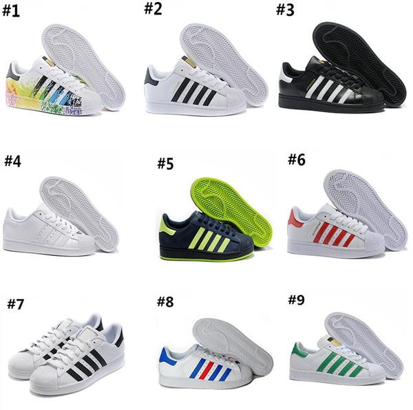 Acheter Adidas Superstar 80s AD03 2 2018 Basketball shoes Authentique Originals Superstars 80S Mans Chaussures 100% Smith Classic Blanc Chaussures De
