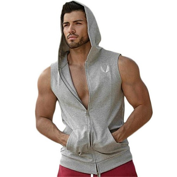 2016 New Brand Stretchy Sleeveless Shirt Casual Fashion Hooded Gyms Tank Top Men Bodybuilding Fitness Clothing