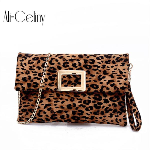 Original Brand Envelopes micro suede Leather Leopard Print Crossbody Bag Women Shoulder Bag Messenger Chain For Women