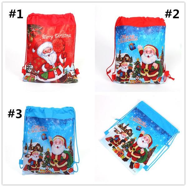 Weihnachten Weihnachtsmann Kordelzug Cartoon Print Reisetaschen Vlies Kinder Party Geschenk Rucksäcke