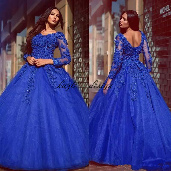 Arabic Royal Blue Ball Gown Evening Dresses 2018 with Long Sleeves Flower Beaded Sweet Train Formal Prom Gowns