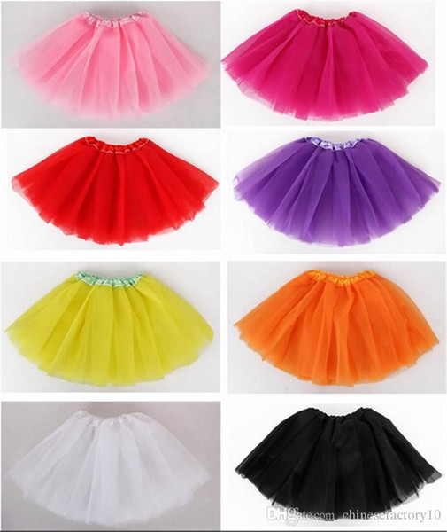 Candy Color Girls TUTU Skirts 3 Layers of Tulle Ballet Skirt Kids Dance Dresses Children Clothing Free Shopping