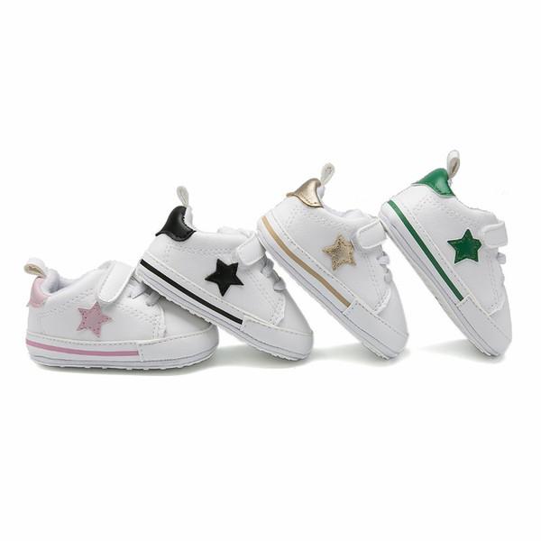 Bebek çocuk sneaker bebek bebek kız yıldız nakış rahat ayakkabılar bebek yumuşak rahat ilk yürüyüşe fit 0-12 M moda erkek ayakkabı F0820