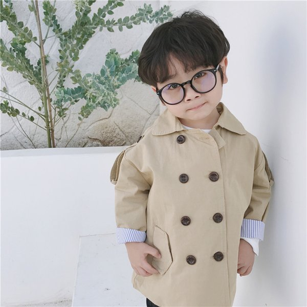 For 1-8 Yrs Baby Boy Jackets Coat Kids Turnover Hooded Windbreaker Cotton Outwear Spring Autumn Casual Clothing Solid Color Children Jacktes