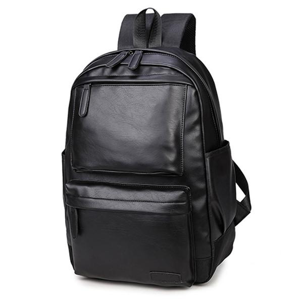 NUEVO Estilo Bonito de Cuero de LA PU Hombres Negro 15 pulgadas Mochila Moda Masculina Casual Niños Escuela bolsas de hombro para Mochila de los hombres