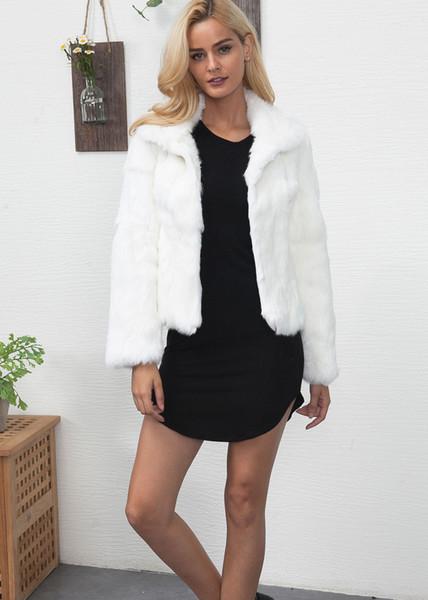 Ladies Imitation Fur Winter White short Jacket Clothes Beautiful Faux Fur Coats For Women Fashion Streetwear Outerwear