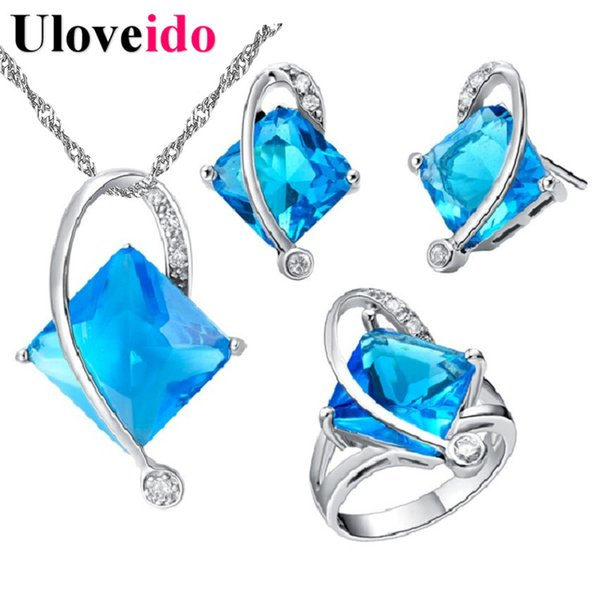 New 2017 Silver Color Bridal Jewelry Sets Blue/Red/Purple Square Crystal Wedding Ring Necklace Earrings Accessories Ulove T295