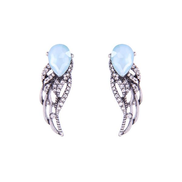 Women Fashion Pretty Jewelry Vintage Blue Cubic Zirconia Wings Stud Earrings