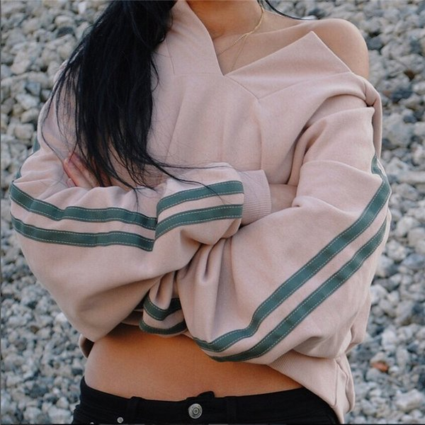 Felpe a righe casual per donna rosa con cappuccio Drop Shipping Off Shoulder Felpe per pullover moda casual Harajuku Kore Top per donna
