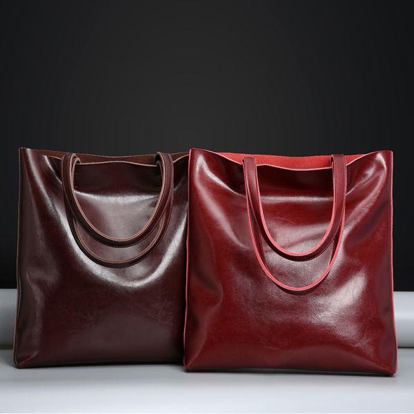 Real Genuine Leather Handbags Big Women Tote Bags Female Fashion Designer High Quality Office Ladies Shoulder Bags 2018 Y18102004