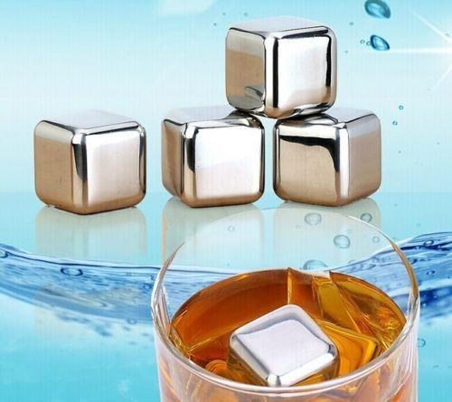 Hot sale !!! 8pcs/set Stainless Steel Glacier Rocks Neat Ice Cube Drink Whiskey Stones