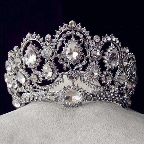 Горный хрусталь свадьба для новобрачных корона 2018 новая невеста корона круглый головной убор завод прямые Hepburn ветер с пряжей