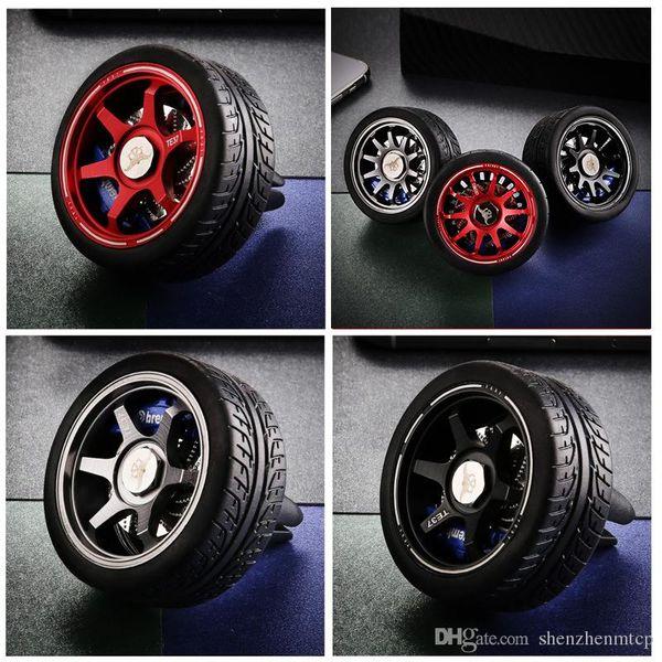 Fashion car mini hub Metal Wheel Rim+Brake Disc+Rubber Tire Clip Car Truck Air Freshener Decoration Solid Perfume cool car styling