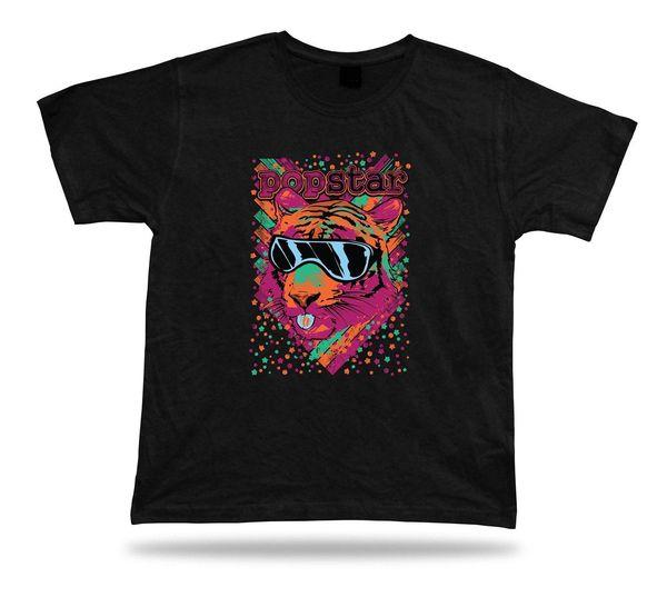 Camiseta Camiseta Idea de regalo de cumpleaños Pop Star Tiger Cat Cool Retro Cristal Cheeky