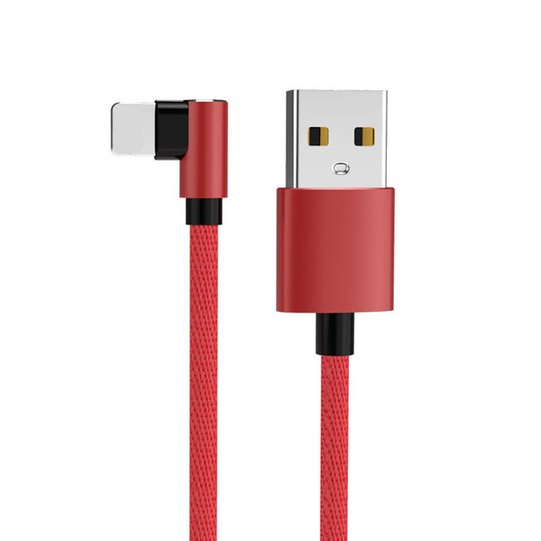 Micro USB Cable Android Type-C 90 Degree Double-sided Plug USB Charging Nylon Cable Elbow For Android Smart Phone CAB289