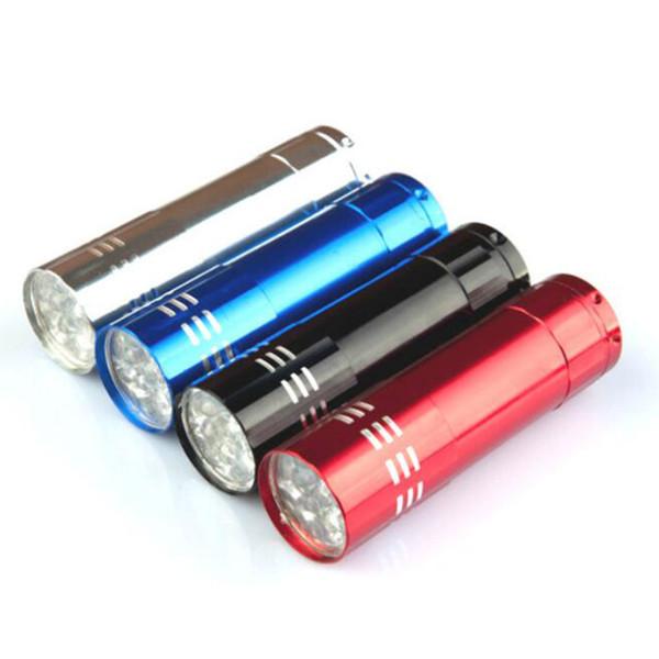 Portable 9 CREE LED luz UV linterna senderismo luz de la antorcha aleación de aluminio dinero detección LED luz de la lámpara UV con caja sin batería por niubilidad