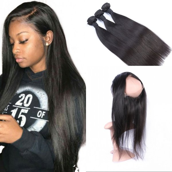 360 Lace Frontal with 3 Bundles Unprocessed Mongolian Human Hair Weaves Straight with 360 Frontal Natural Black FDshine