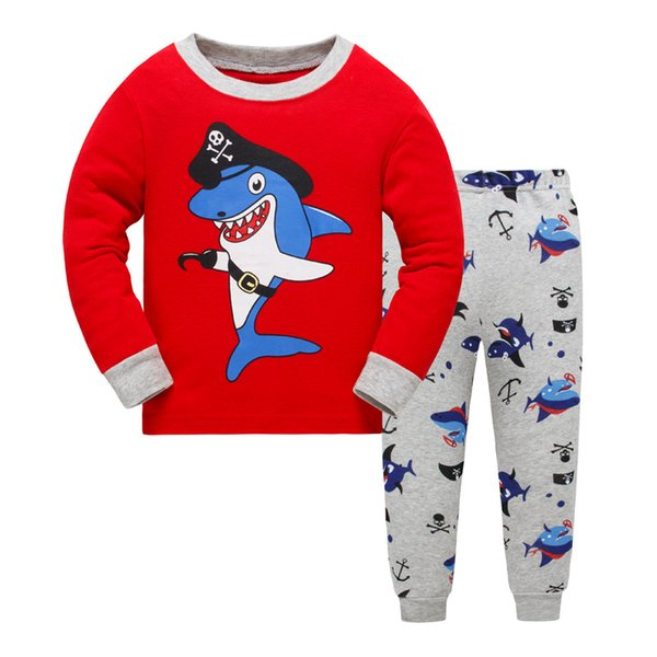 New Dolphin Girls Pajama Sets Spring Cartoon Cotton Clothing Set For Girls Long Sleeve Shirt + Pants 2 Pieces Suit Kids Clothing