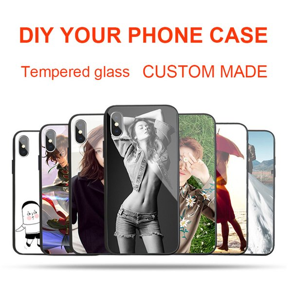 Custom Made DIY Name Images Customized Picture Personalized Photo Tempered Glass Phone Case for iPhone X 8 8Plus 7 7Plus 6 6s Plus Galaxy S8