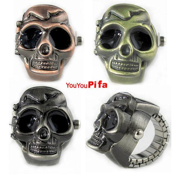 Fashion Bronze Black Skull Finger Quartz Ring Watches Men Women Unisex Casual Retro Vintage Clamshell Watch Relogio With Box