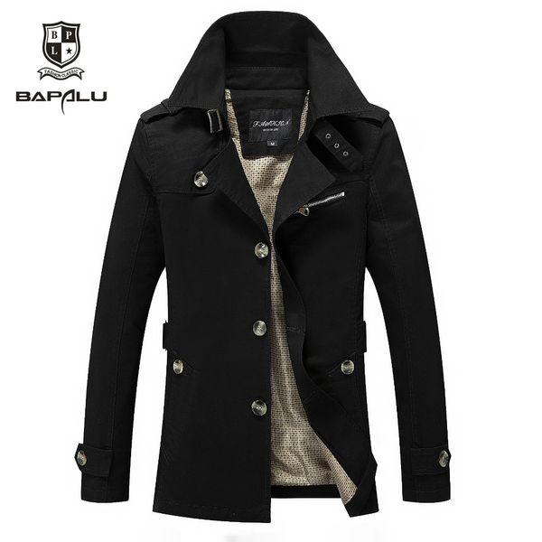 Autumn New jacket men's thin coat men's business casual long section washed windbreaker jacket Coat size M-4XL 5XL JH579