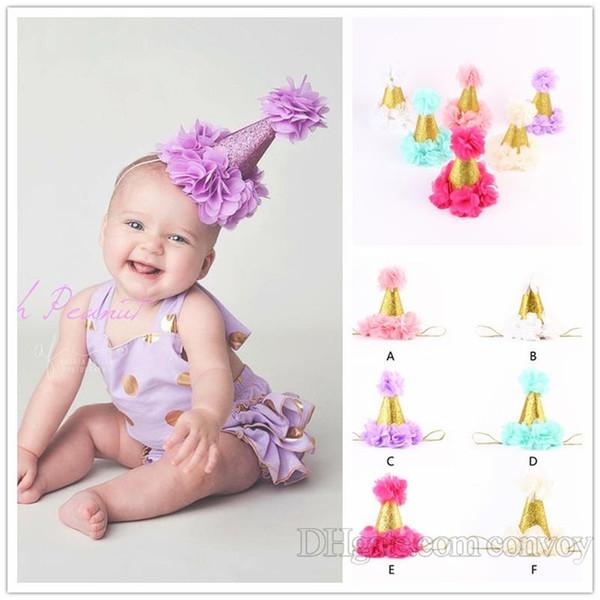 Baby Flower crown headbands girls gold crown hairband kids hair accessories princess birthday party Headbands photography props KHA440