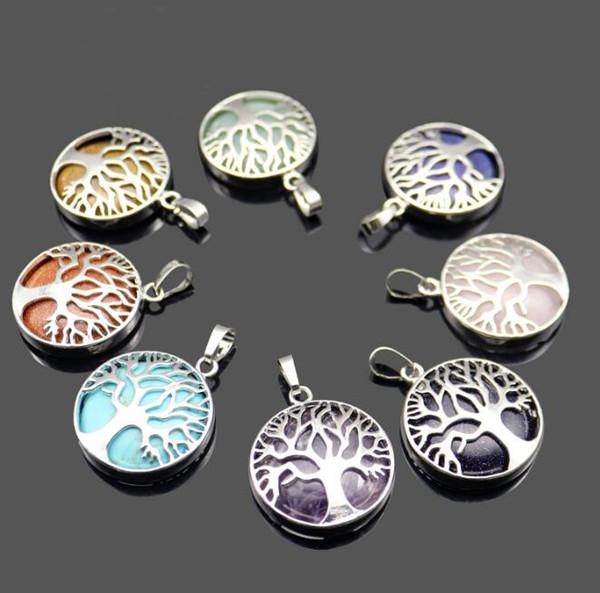 JLN Life Tree Gems Pattern Pendants Natural Tree Life Lazuli Stone Turquoise Lapis Reiki Jewelry for Women