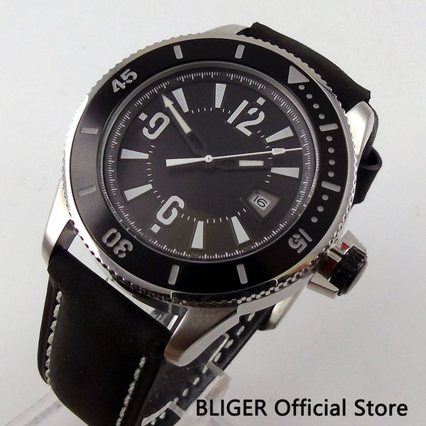 Casual BLIGER 43MM Black Sterile Dial Luminous Marks Date Window 21 Jewels MIYOTA Automatic Movement Men's Watch Pin Clasp BI1