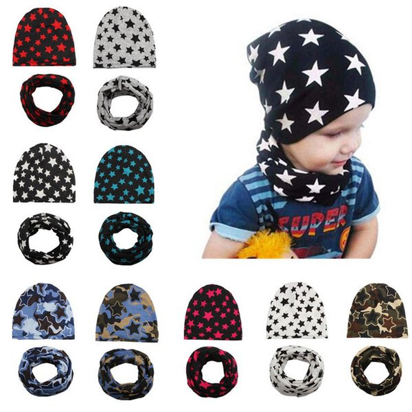 2018 New Children Winter Hat Star Infant Baby Hat + Scarf Spring Crochet Girl Boy Cap Unisex Beanie Cotton Knitted Toddlers