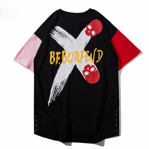 Hit Color Emendados Tee Camisetas Homens Crânios Imprimir Manga Curta Unisex Casual Cozy T-shirt Tshirt Streetwear
