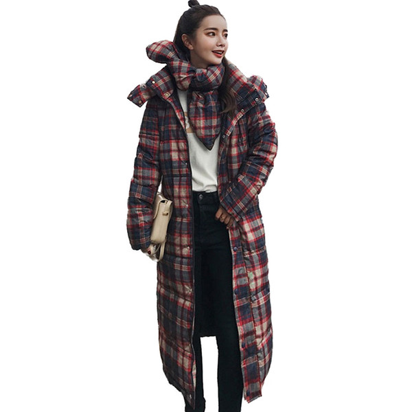 Winter coats Women Plaid Print Cotton Jacket Long Coat Students Cotton-padded jacket Female Thick Warm Scarf Hooded Tops N261