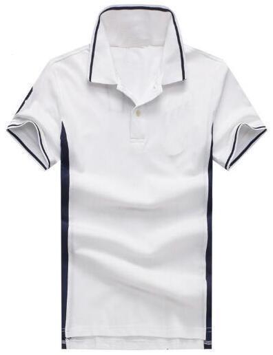 Cadeau Marque Solide Polo Shirt Hommes Big Horse Broderie De Haute Qualité Nouveaux Hommes Polo Shirts Business Hommes Vêtements Polos Blanc