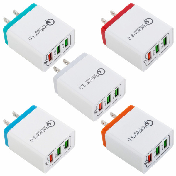 HOT Q3.0 Carregador Rápido 3 Adaptador USB EUA Plugue DA UE Plugue Colorido Carregador De Parede Plugs 3 Portas 2.1A 2.1A 3.1A para Telefone Inteligente celular