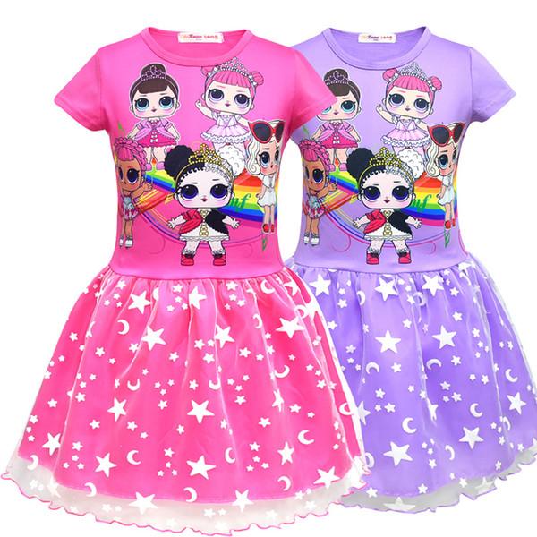 2 colores vestidos de las muchachas del bebé de la historieta de la historieta de la muñeca vestidos de malla falda plisada doble de los niños vestidos del mono ropa del bebé