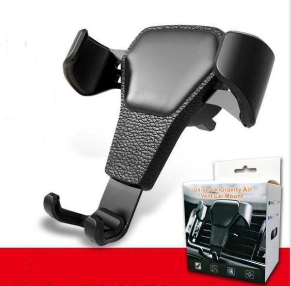 Leder Korn Schwerkraft Autotelefonhalter Clip Air Vent Mount Autohalter Einfache Anzeige Bequem Geeignet für 4,0-6,0 zoll telefon