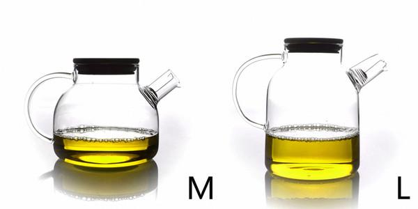 Tipi di termoresistente di vetro libera a mano Tea Pot con filtro e coperchio di bambù Drop Shipping