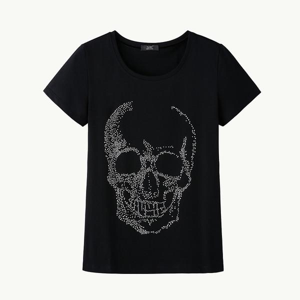 Sale Fashion Women T Shirt Skull Diamond Black Shirt Short Sleeve Crystal T Shirt Plus Size Women