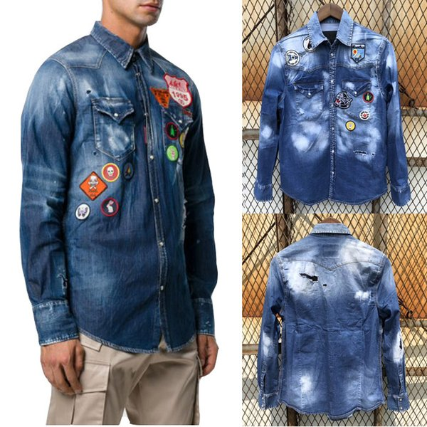 Patches Jeans Shirt Cool Guy Distressed Bleach Wash Painted Trim Fit Denim Shirts Man Casual Cowboy Top