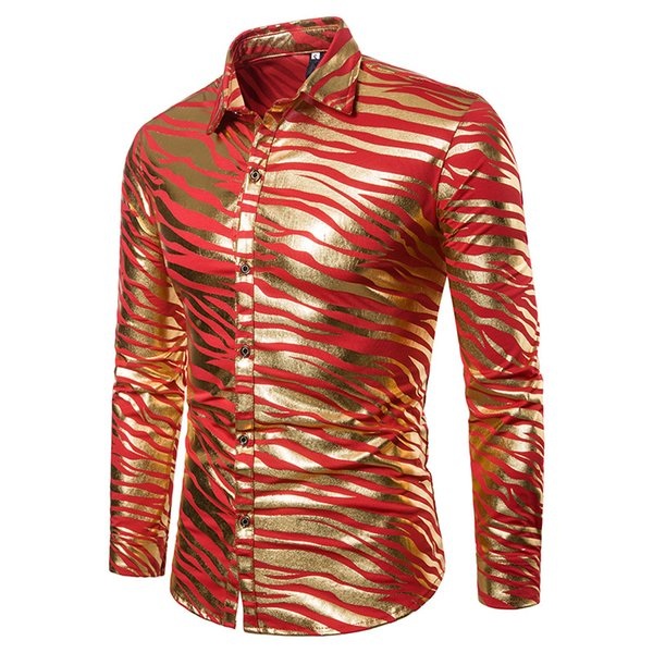 Fashion Men Slim Fit Long Sleeve Shirt Red White Black Striped Casual Business Shirt Tops Plus Size S-XXL Camisa Masculina