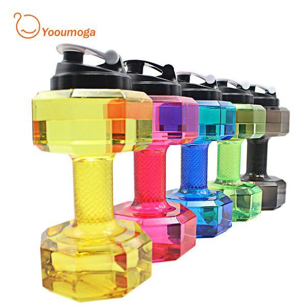 Mancuerna en forma de Gimnasio al por mayor Botella de Agua para Deportista Botella de Plástico a Prueba de Fugas Bicicleta Al Aire Libre de Gran Capacidad Drinkware 2.2L