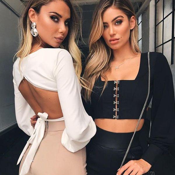 Womens Long Sleeves Shirt mit ausgeschnittenen Tunika Bluse Krawatte Knoten Tops lose passende Shirts Casual für Party